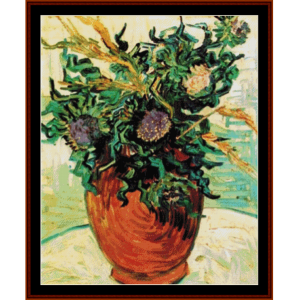 still life with thistles - van gogh cross stitch pattern by cross stitch collectibles