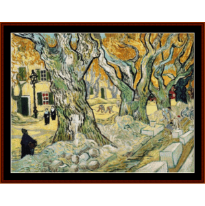 the road menders - van gogh cross stitch pattern by cross stitch collectibles