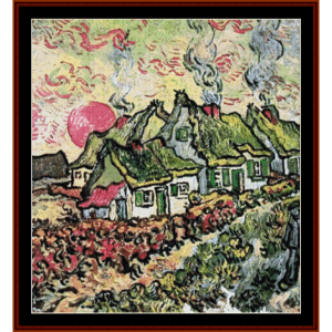 cottages - van gogh cross stitch pattern by cross stitch collectibles
