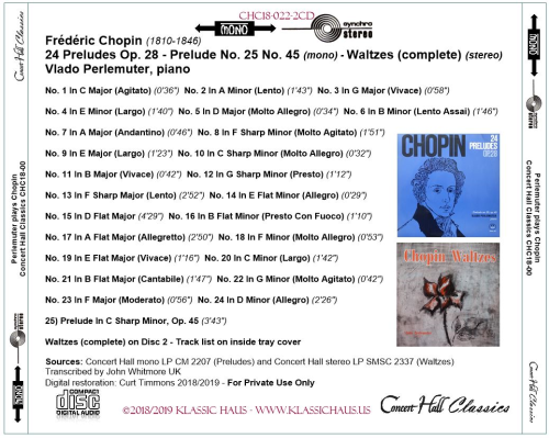 First Additional product image for - Frédéric Chopin (1810-1846):  24 Preludes Op. 28 - Prelude No. 25 No. 45 (mono) - Waltzes (complete) (stereo) - Vlado Perlemuter, piano