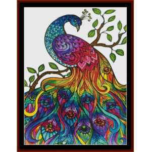 fantasy mandala peacock i cross stitch pattern by cross stitch collectibles