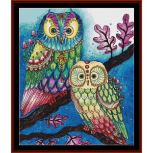 fantasy owls i cross stitch pattern by cross stitch collectibles