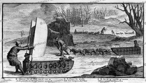 traveling by sledge and the wind over the ice, nicolaas witsen, 1785