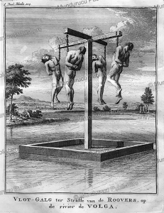 pirates hung on hooks to die on a raft on the river volga in russia, jonas hanway, 1754