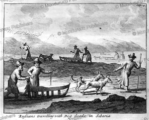 russians travelling by dog-ledge in siberia, ysbrants ides, 1710