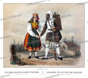ziriane man and woman from vologda, russia, m. klodt, 1867