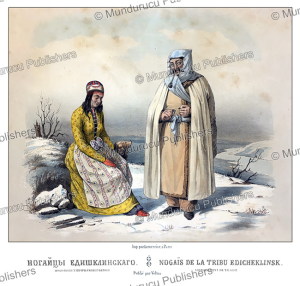 nogais man and woman, russia, m. klodt, 1867