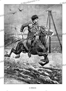 cossack on horseback, siberia, julius price, 1892