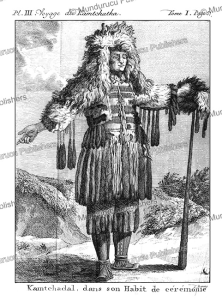 man of kamchatka in ceremonial dress, kracheninnikow, 1770
