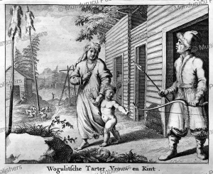 wogulski (wolga) tartar with wife and child, ysbrants ides, 1705