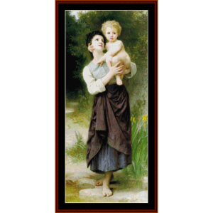brother and sister - bouguereau cross stitch pattern by cross stitch collectibles