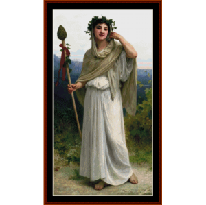 priestess of bacchus - bouguereau cross stitch pattern by cross stitch collectibles