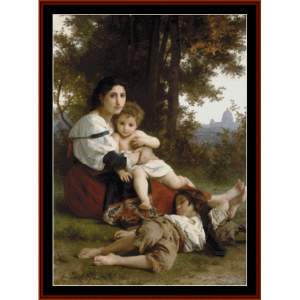 rest - bouguereau cross stitch pattern by cross stitch collectibles