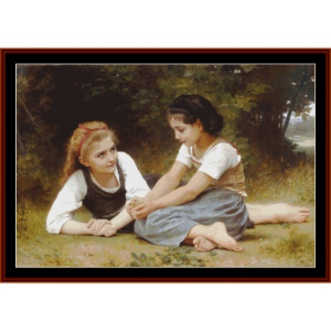 the nut gatherers - bouguereau cross stitch pattern by cross stitch collectibles