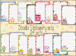 printable stationery designs volume doodles 001