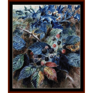 blackberries and holly - durer cross stitch pattern by cross stitch collectibles