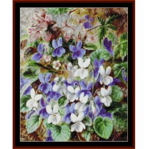 wild violets - durer cross stitch pattern by cross stitch collectibles
