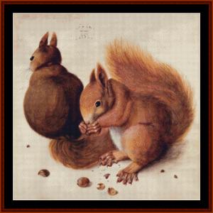 squirrels - durer cross stitch pattern by cross stitch collectibles