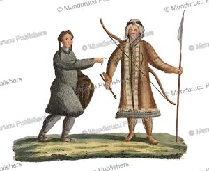 yakut man and tchuckchee woman, siberia, carl bertuch, 1821