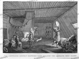 yakut shaman driving out spirits to heal the sick, reinier vinkeles, 1808