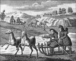 ostyaks hunting in sledges, siberia, john mottley, 1739
