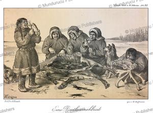 ostyaks eating reindeer, m. hoffmann, 1879