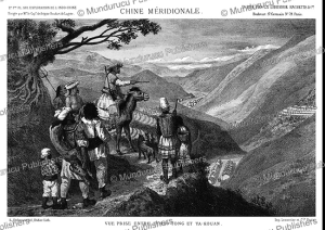miao people overlooking the valley of tchao-tong, china, louis delaporte, 1873