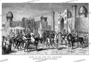 entry of the emir into samarkand, uzbekistan, john baptist zwecker, 1864