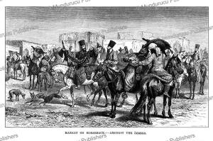 market on horseback, uzbekistan, john baptist zwecker, 1864
