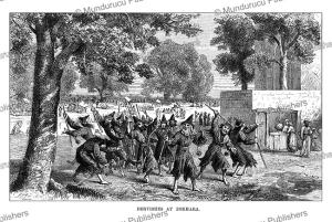 whirling dervishes of bokhara (bukhara), uzbekistan, johann baptist zwecker, 1864