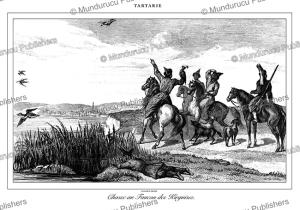 kyrgyz hunt with eagles, tartary, lemaitre, 1848
