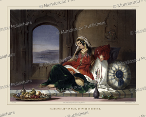 kandahar lady of rank, engaged in smoking, afghanistan, james rattray, 1848