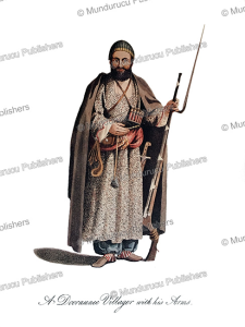 dooraunee villager with his arms, afghanistan, mountstuart elphinstone, 1815