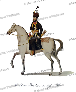 the chaous baushee (officer of the king's government) in official dress, afghanistan, mountstuart elphinstone, 1815