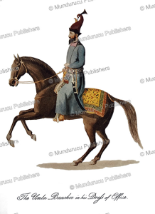 the umla baushee (minister of the king's government) in official dress, afghanistan, mountstuart elphinstone, 1815