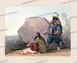 afghan foot soldiers in their winter dress, afghanistan, james rattray, 1848