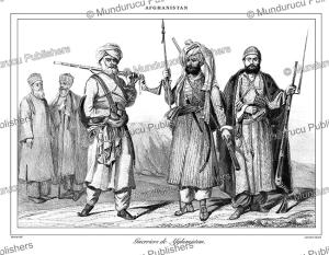 afghan warriors, afghanistan, vernier, 1848