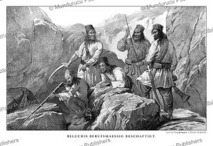 baluchi warriors, afghanistan, alexander burn, 1843