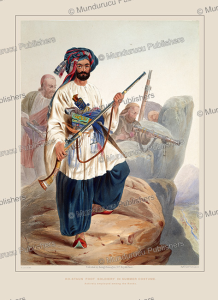 kohistan foot soldiers in summer costume, afghanistan, james rattray, 1848