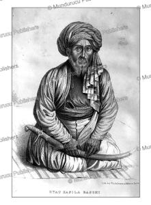 kafila-bashee, or chief of the caravan, afghanistan, alexander burn, 1843