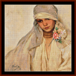 the bride - mucha cross stitch pattern by cross stitch collectibles