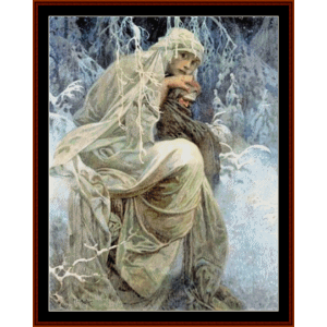 a winter tale - mucha cross stitch pattern by cross stitch collectibles