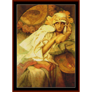 muse - mucha cross stitch pattern by cross stitch collectibles