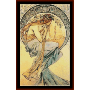 poetry ii  - mucha cross stitch pattern by cross stitch collectibles