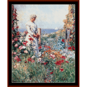 in the garden - childe-hassam cross stitch pattern by cross stitch collectibles