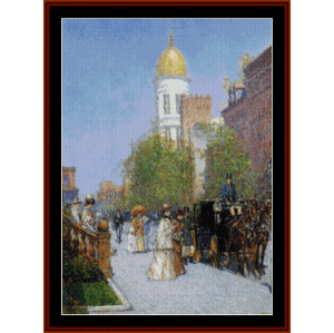 a spring morning - childe-hassam cross stitch pattern by cross stitch collectibles