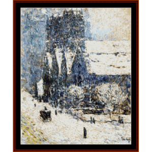 cavalry church in the snow - childe-hassam cross stitch pattern by cross stitch collectibles