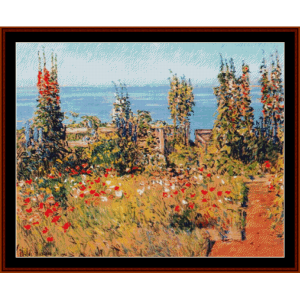 hollyhocks, isle of shoals - childe-hassam cross stitch pattern by cross stitch collectibles