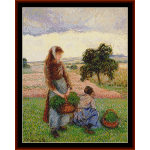peasant women with baskets - pissarro cross stitch pattern by cross stitch collectibles