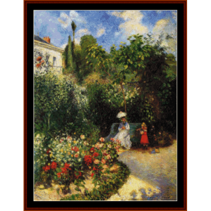 the garden at pntoise - pissarro cross stitch pattern by cross stitch collectibles